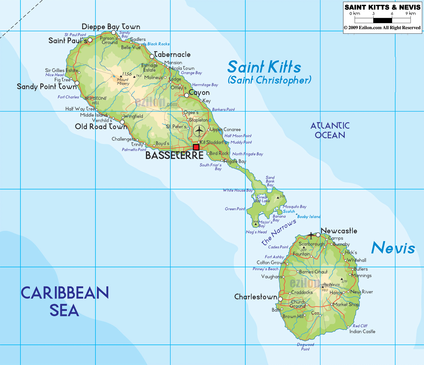 Large physical map of Saint Kitts and Nevis with roads cities and