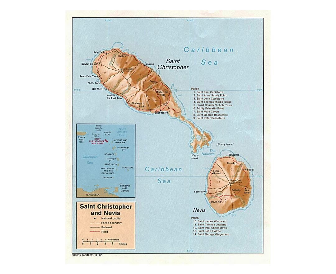 Maps of Saint Kitts and Nevis Detailed map of Saint Kitts and