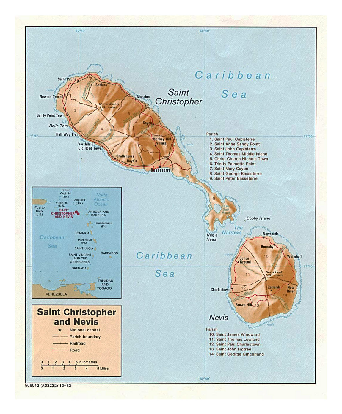 Large political and administrative map of Saint Kitts and Nevis with