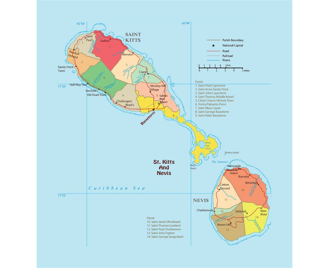 Maps of Saint Kitts and Nevis | Collection of maps of Saint Kitts ...