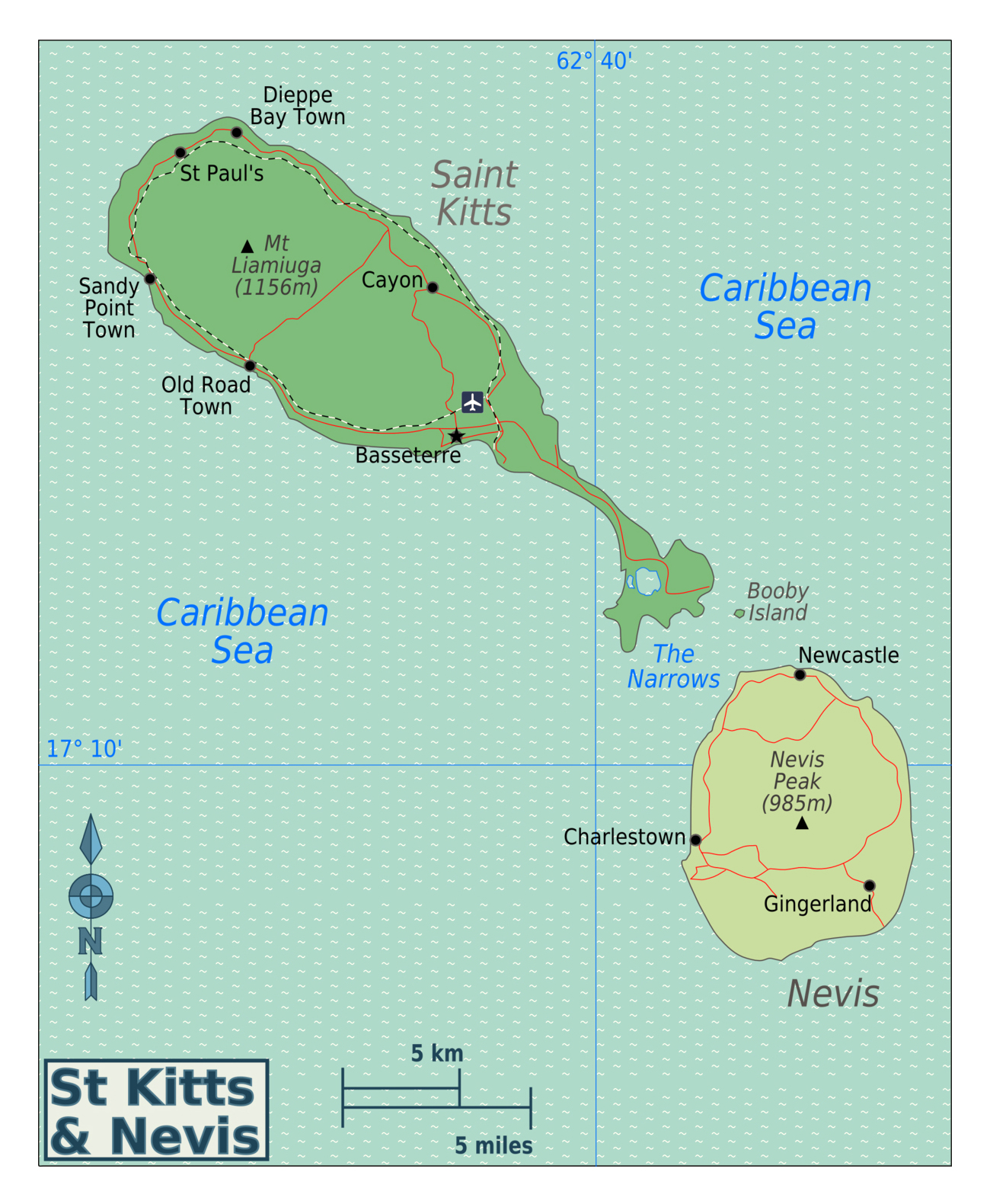 Large regions map of Saint Kitts and Nevis with other marks Saint