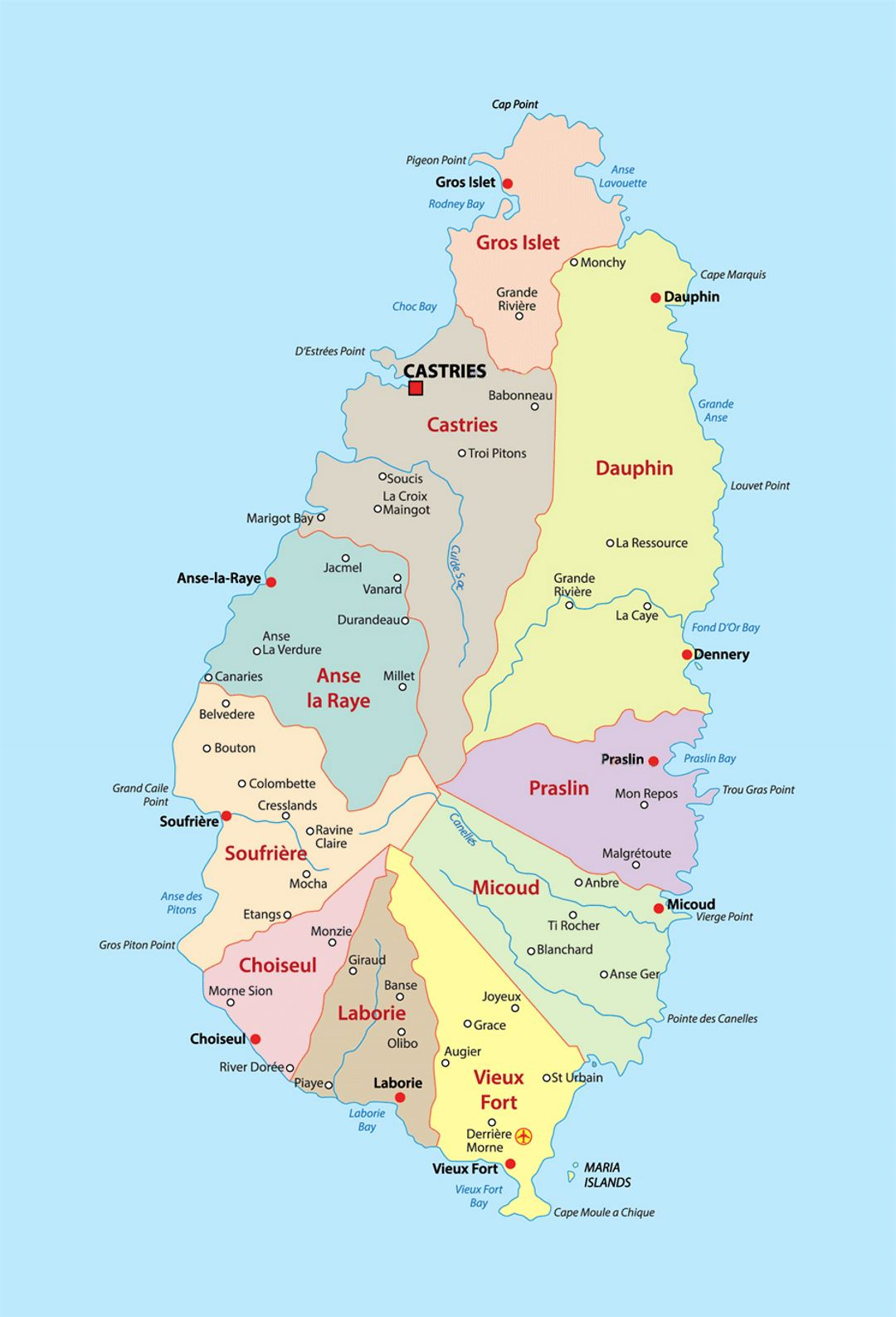 Detailed administrative divisions map of Saint Lucia with cities