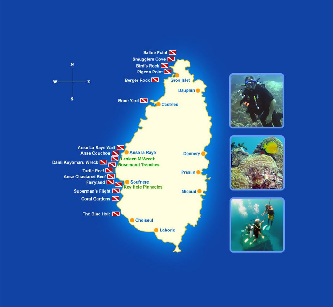Detailed dive sites map of Saint Lucia