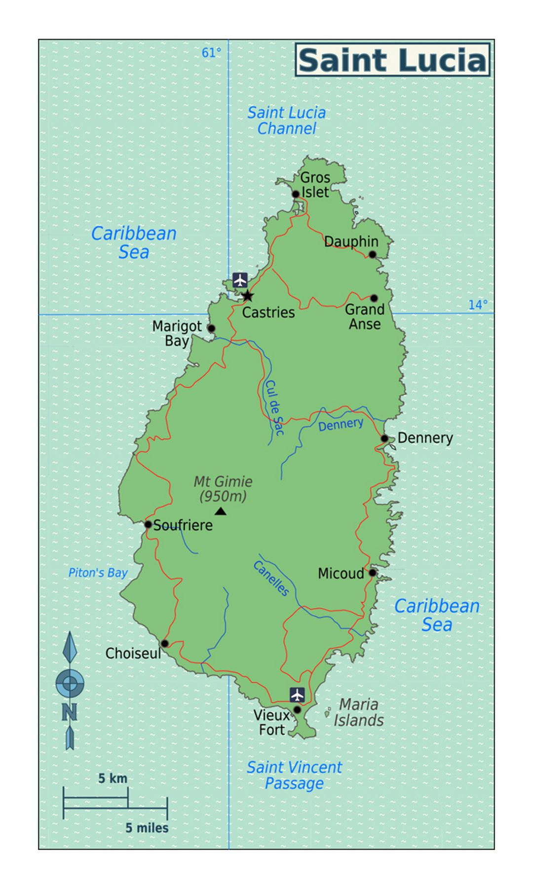 Detailed map of Saint Lucia with roads cities and airports Saint