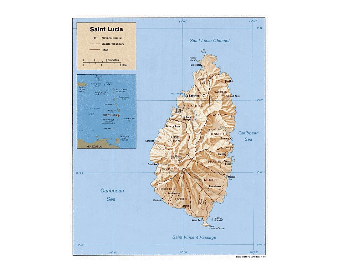 Image of: Maps Of Saint Lucia Collection Of Maps Of Saint Lucia North America Mapsland Maps Of The World