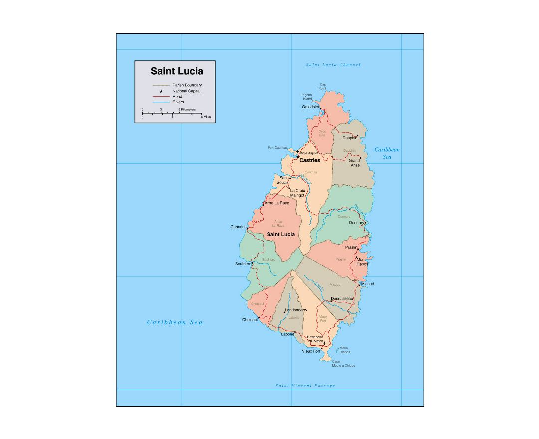 Maps of Saint Lucia | Collection of maps of Saint Lucia | North ...