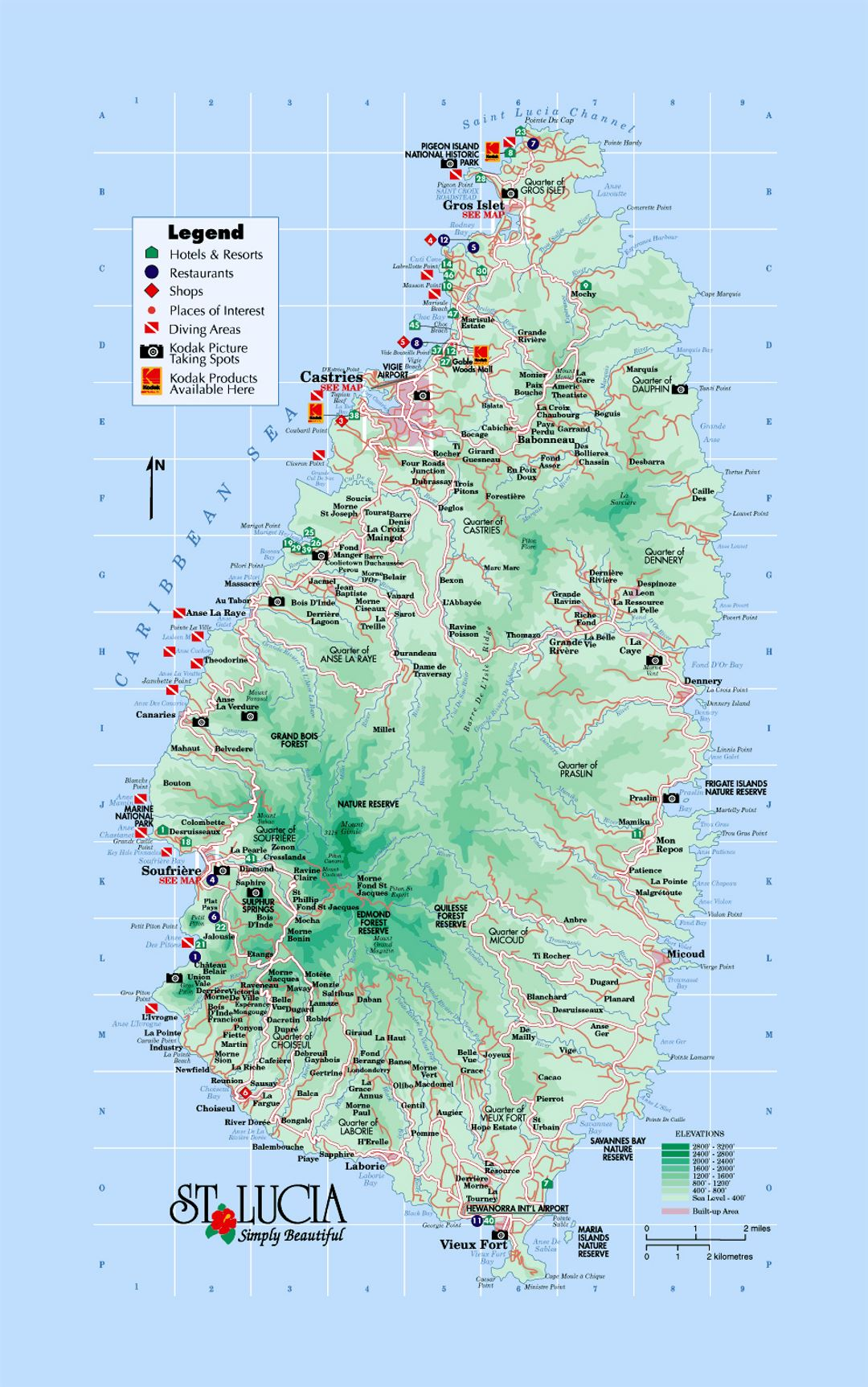 Detailed tourist and elevation map of Saint Lucia with roads cities