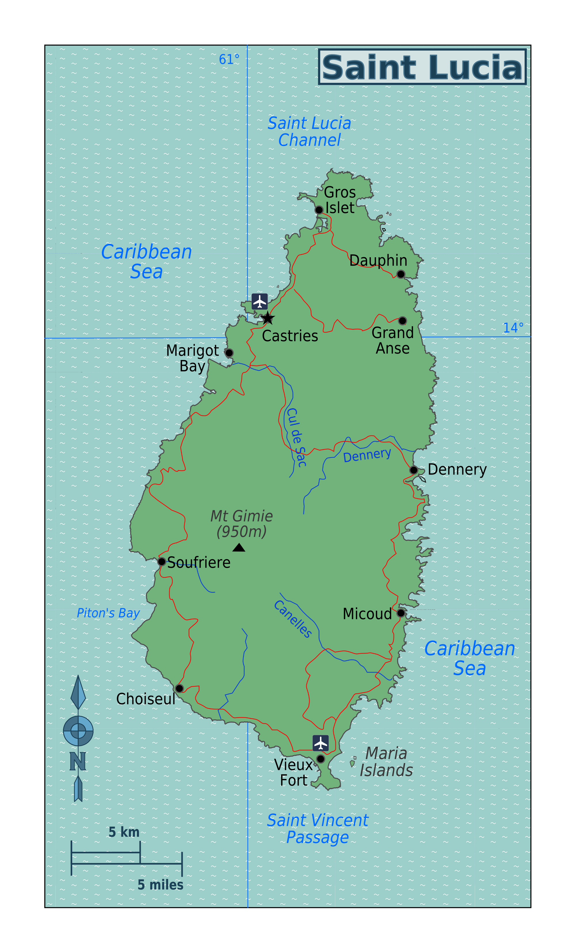 Large detailed map of Saint Lucia with rivers roads cities and