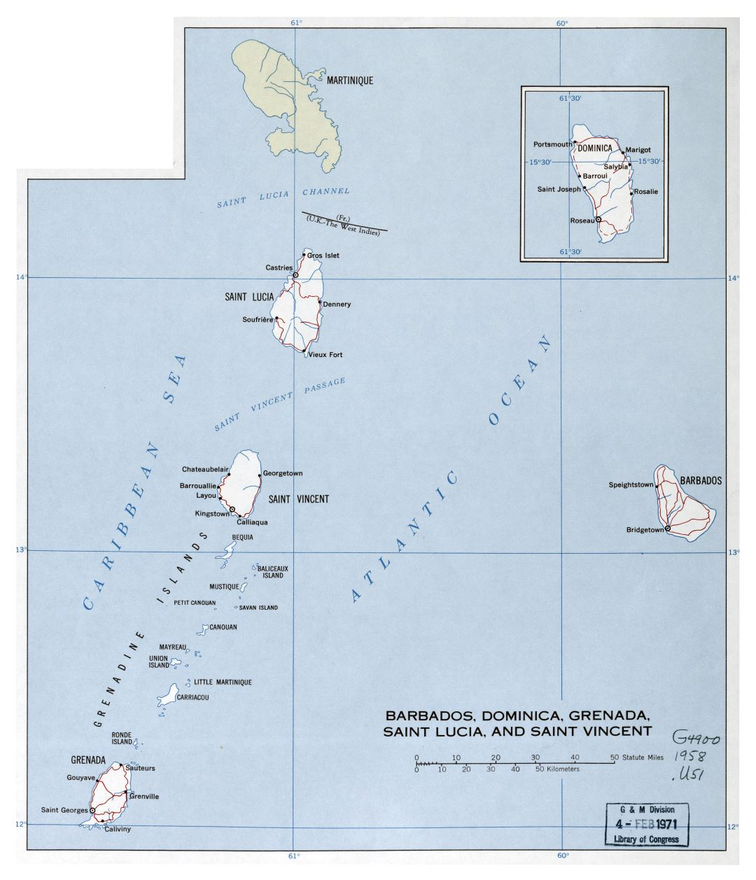 Large detailed political map of Barbados, Dominica, Grenada, Saint Lucia and Saint Vincent with roads and cities - 1958