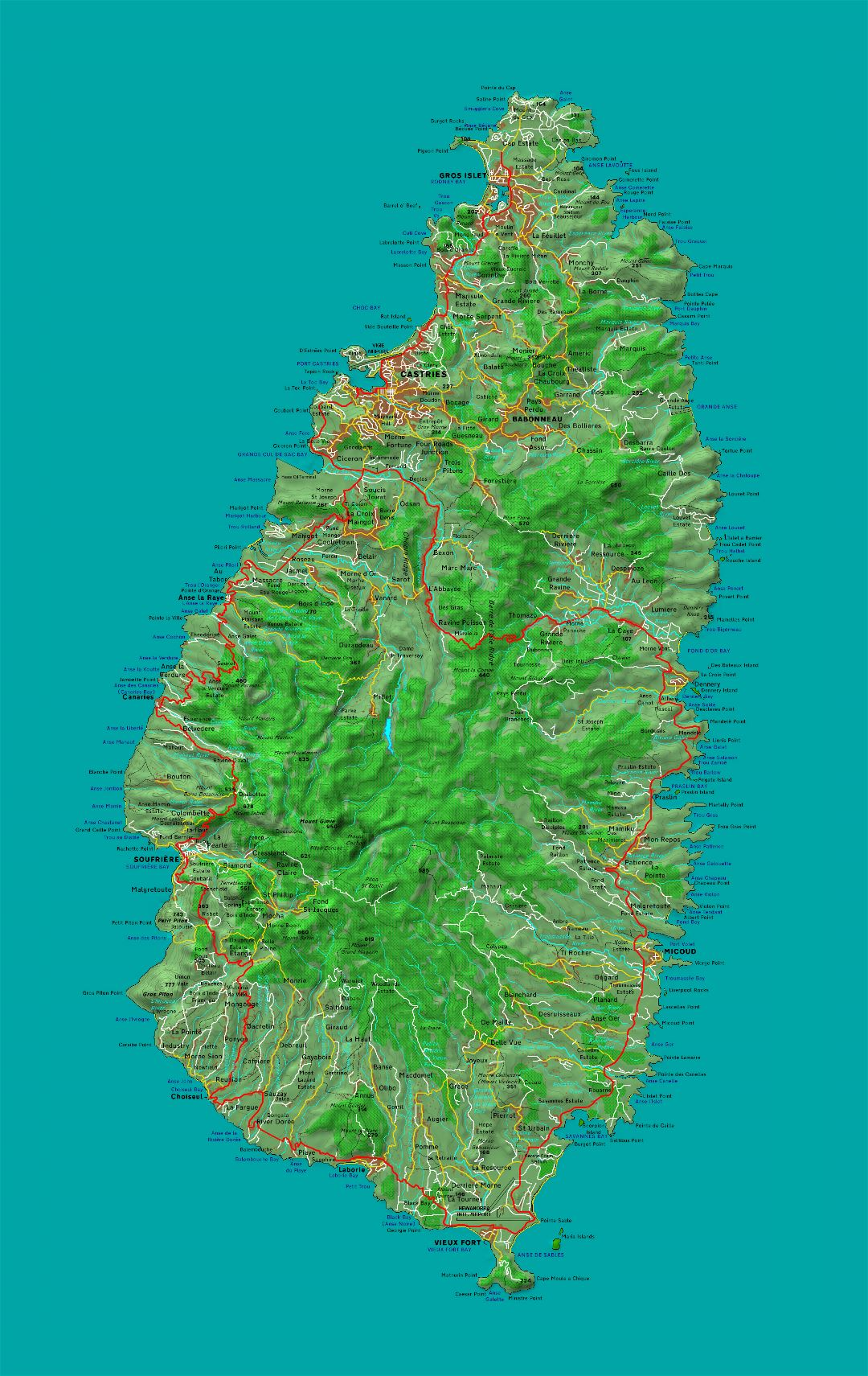 Large detailed topographical map of Saint Lucia with other marks