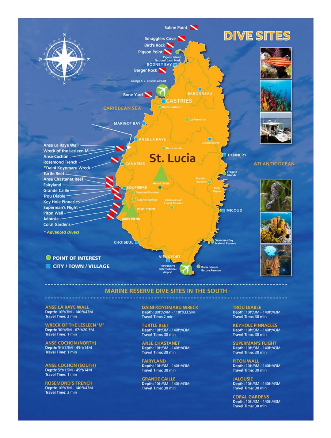 Large dive sites map of Saint Lucia Saint Lucia North America