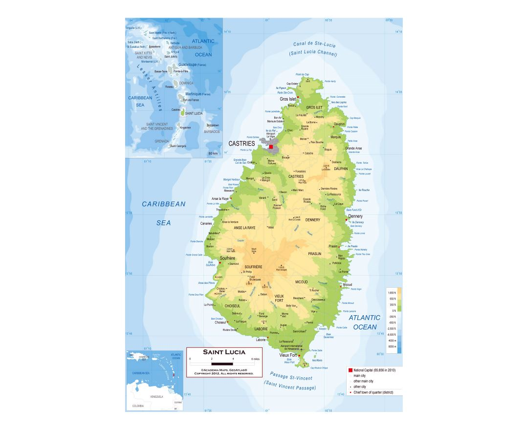 Maps of Saint Lucia Detailed map of Saint Lucia in English