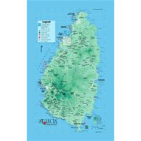 Detailed tourist and elevation map of Saint Lucia with roads, cities ...