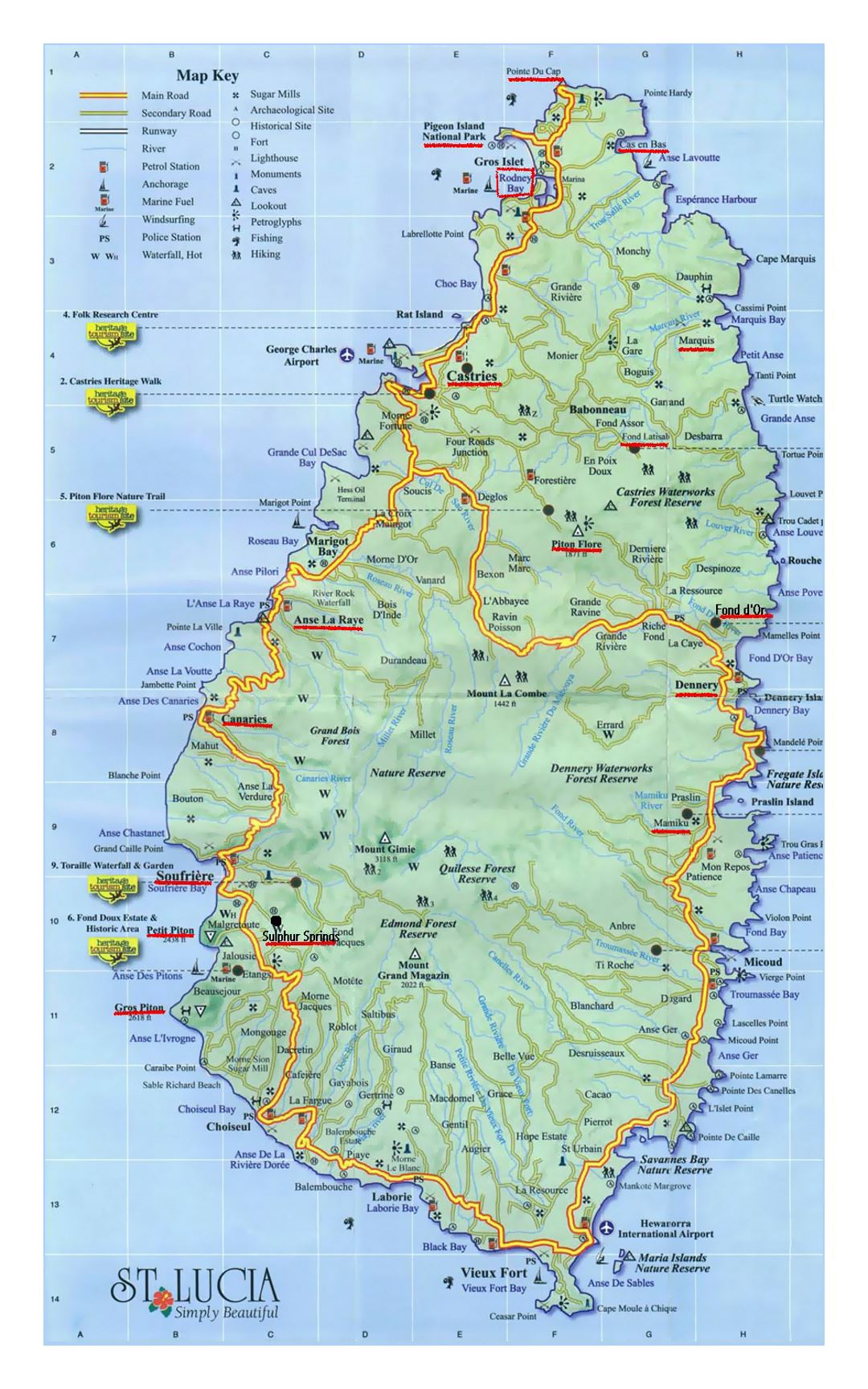 Large travel map of Saint Lucia Saint Lucia North America