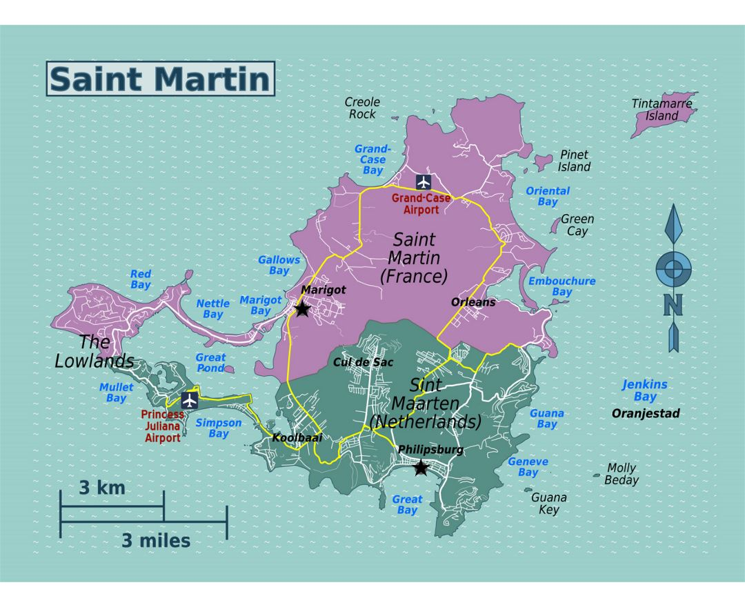 Detailed map of Sint Maarten, Saint Martin with roads, cities, villages and airports