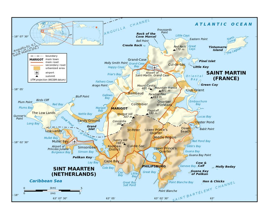 Detailed political map of Sint Maarten, Saint Martin with relief, roads, cities and airports