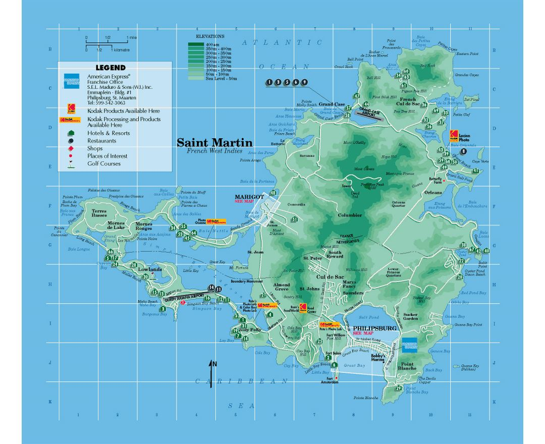 Detailed tourist map of Sint Maarten, Saint Martin with other marks