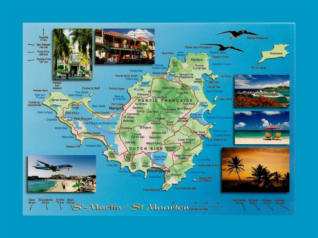 Detailed travel map of Sint Maarten, Saint Martin