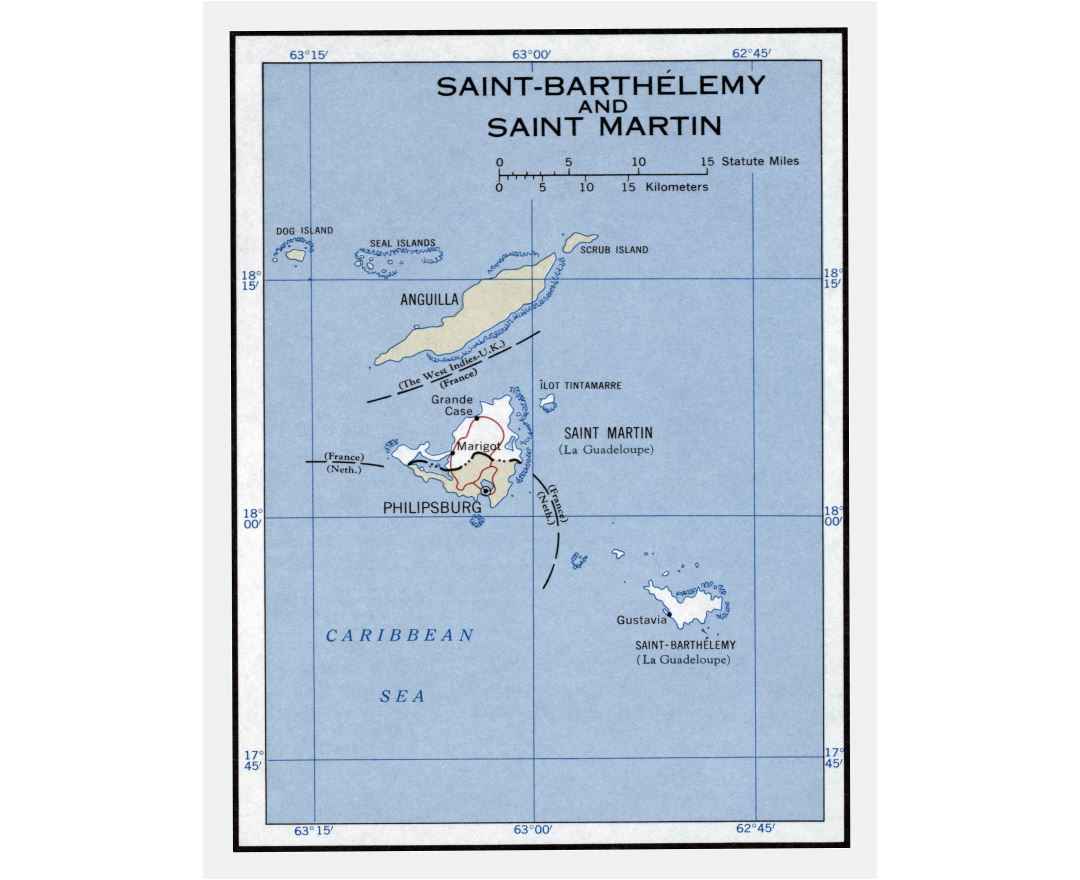 Large detailed political map of Saint Barthelemy and Saint Martin - 1960