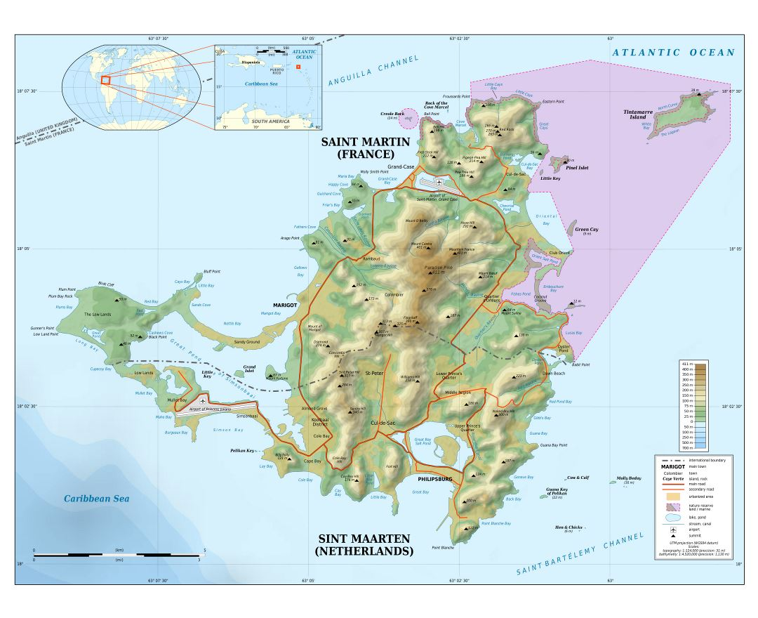 Large detailed topographic map of Sint Maarten, Saint Martin