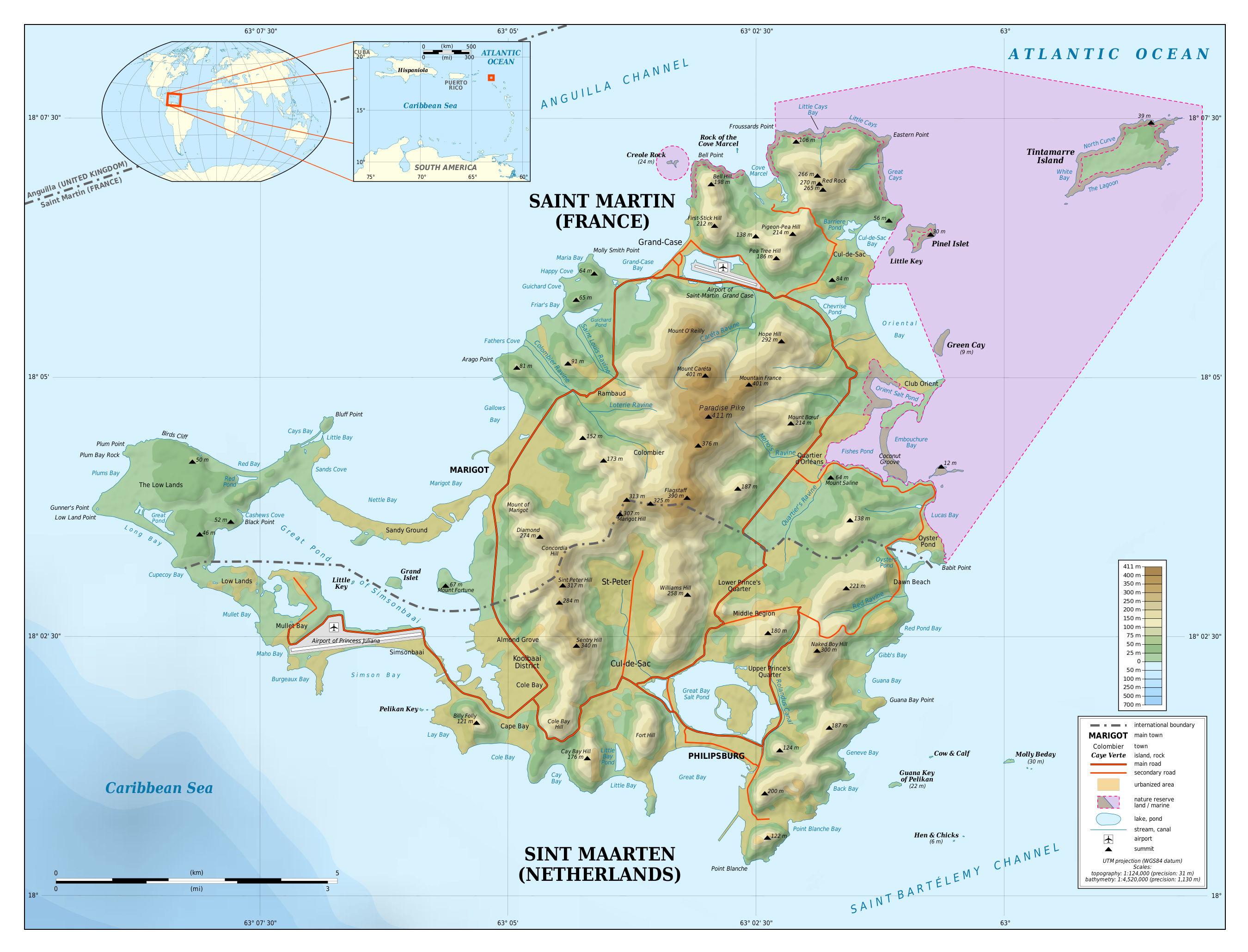 Large Detailed Topographic Map Of Sint Maarten Saint Martin Saint