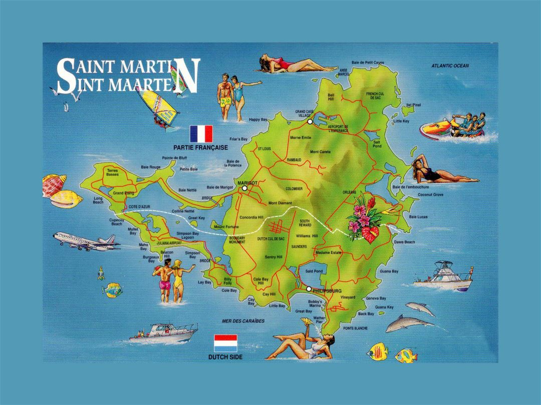 Large detailed tourist illustrated map of Sint Maarten, Saint Martin