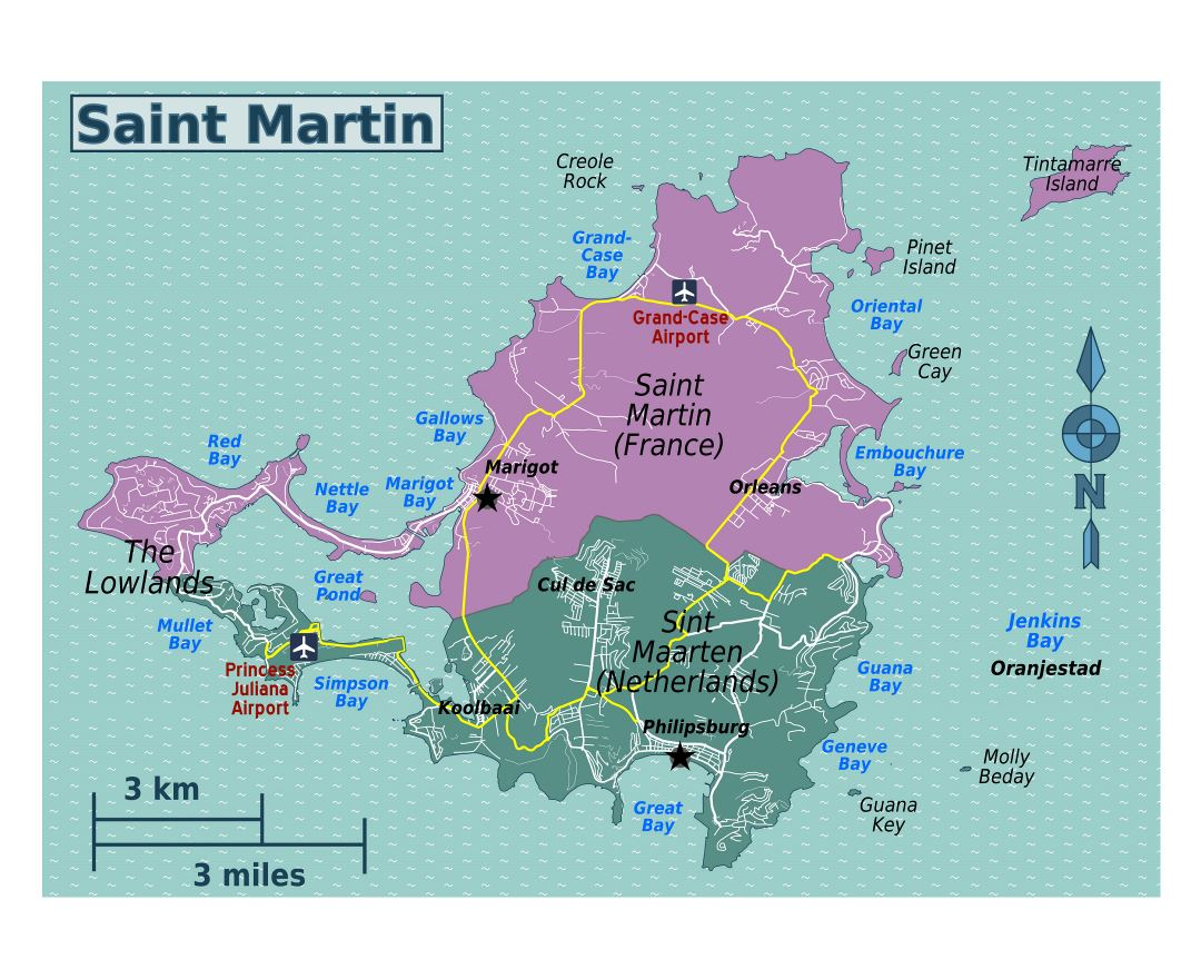 Large map of Sint Maarten, Saint Martin with roads, cities, villages and airports