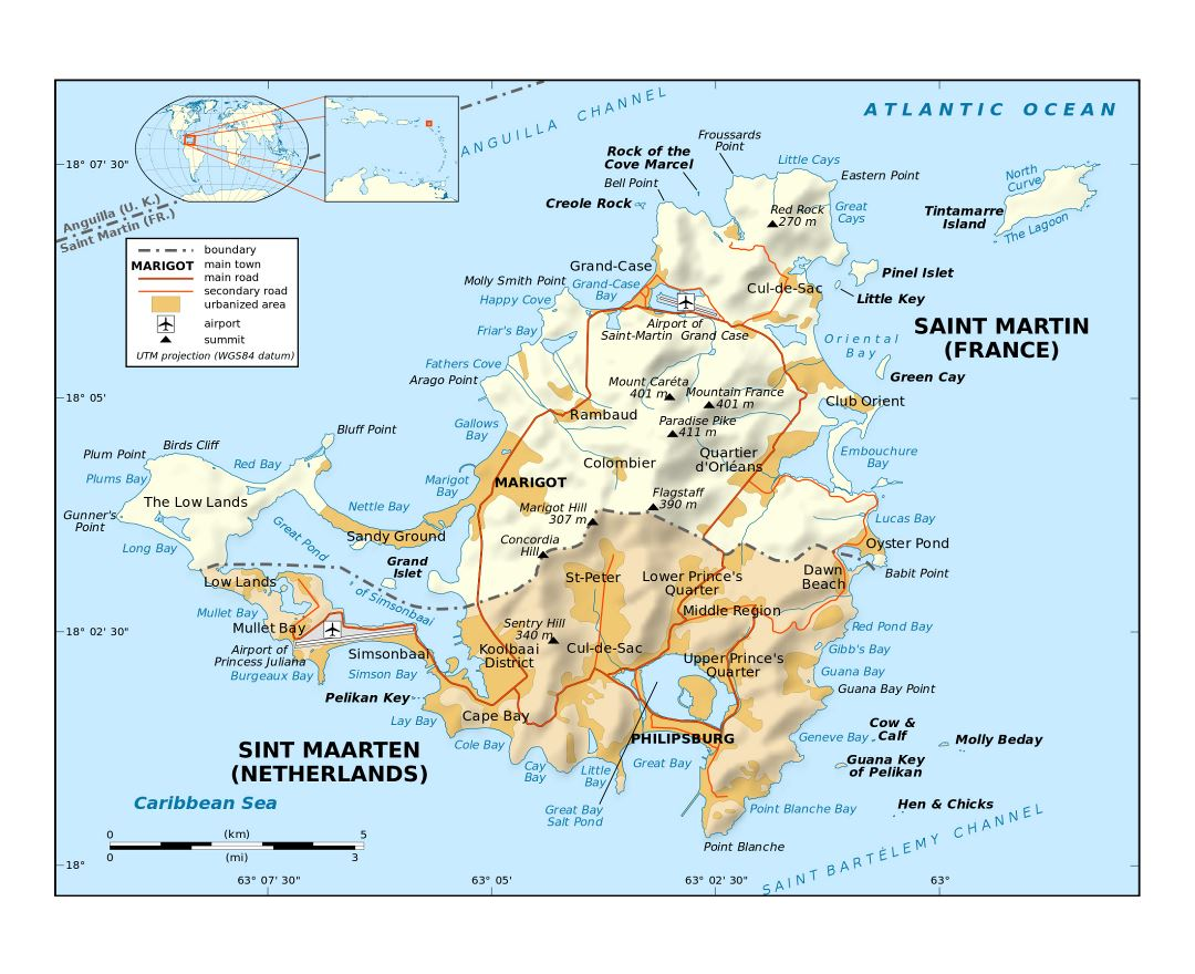 Large political map of Sint Maarten, Saint Martin with relief, roads, cities and airports