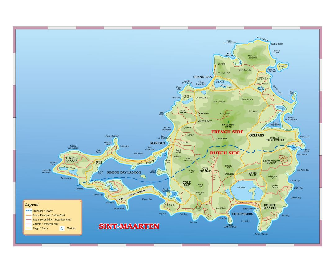 Large road map of Sint Maarten, Saint Martin with other marks