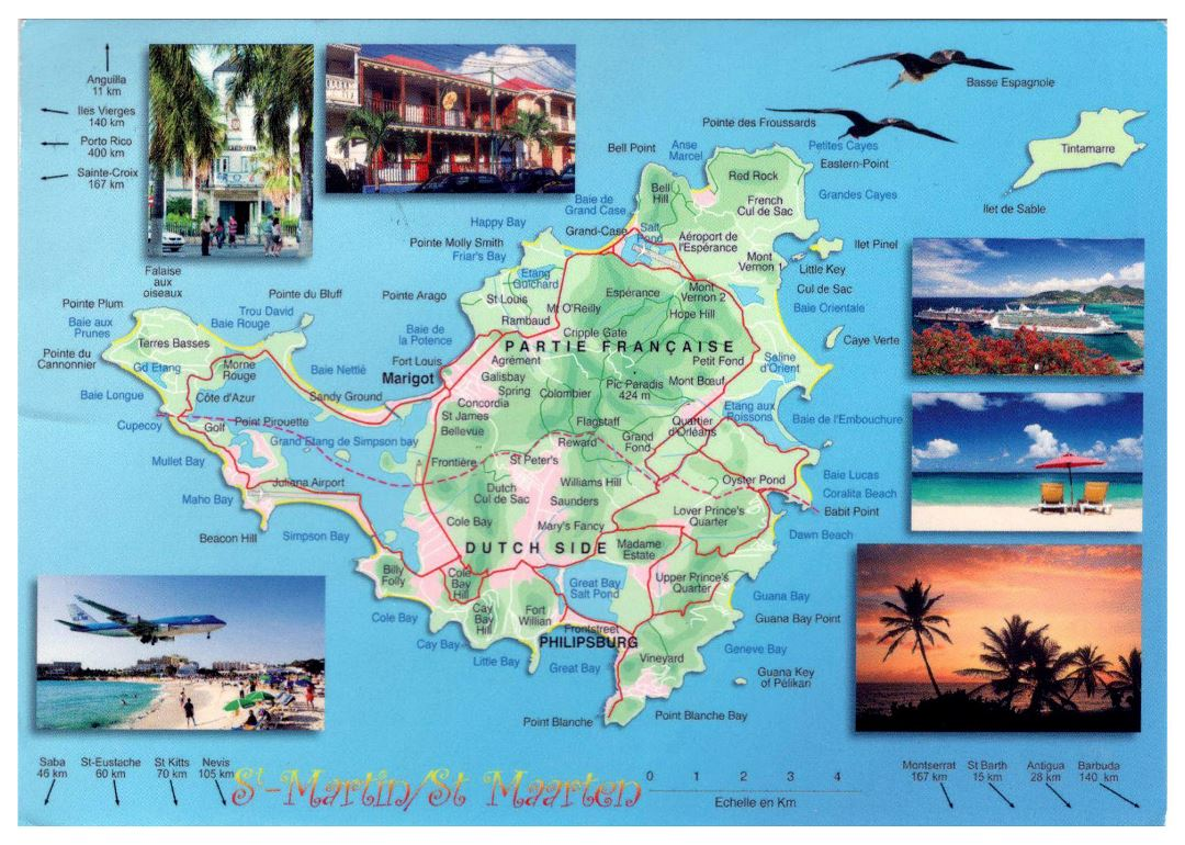 Large tourist map of Sint Maarten, Saint Martin