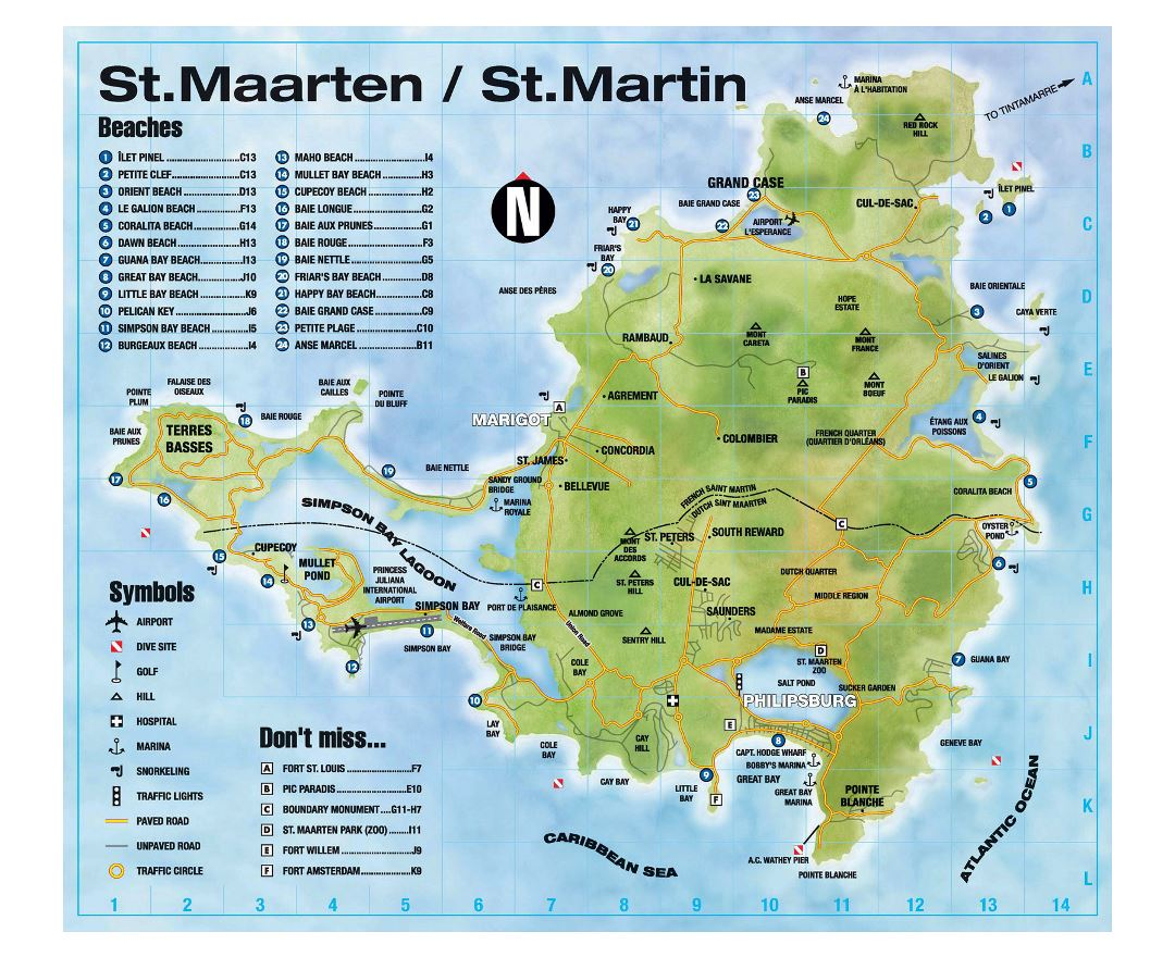 Large tourist map of Sint Maarten, Saint Martin with other marks
