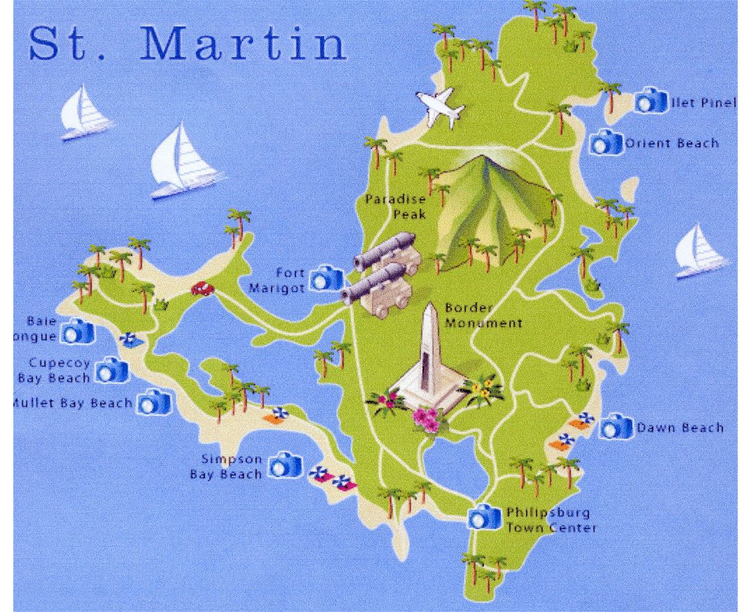 Large travel map of St. Martin