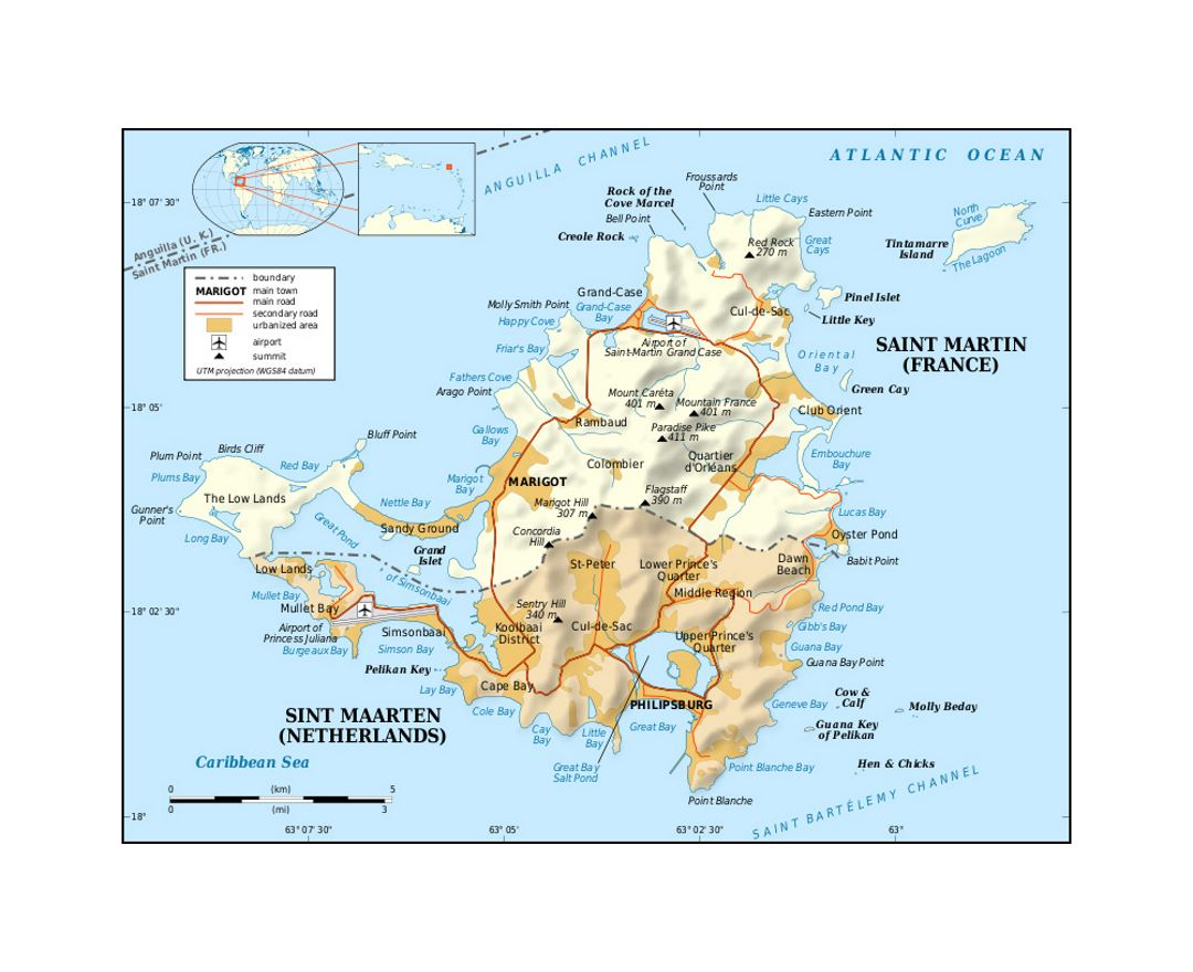 Political map of Sint Maarten, Saint Martin with roads, cities, airports and other marks