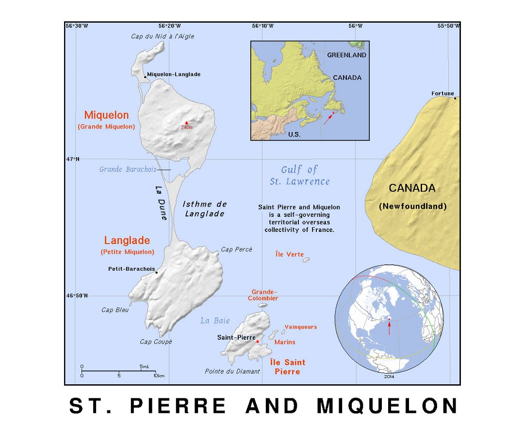 Detailed political map of Saint Pierre and Miquelon with relief