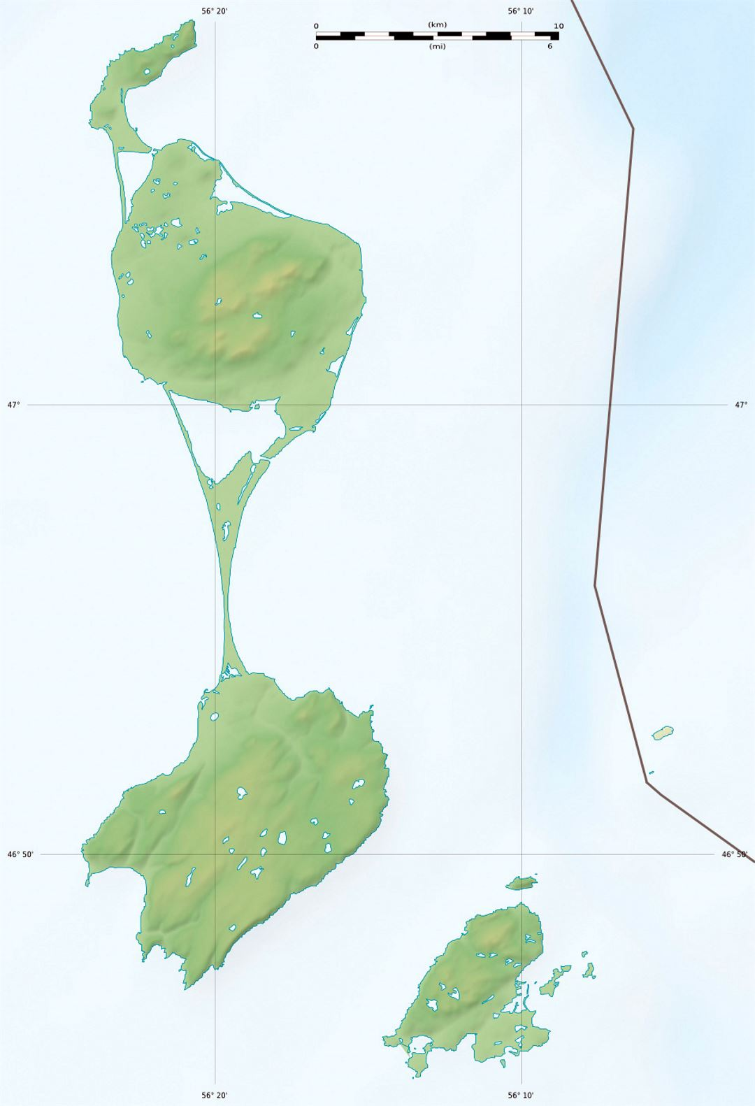 Detailed relief map of Saint Pierre and Miquelon Saint Pierre and