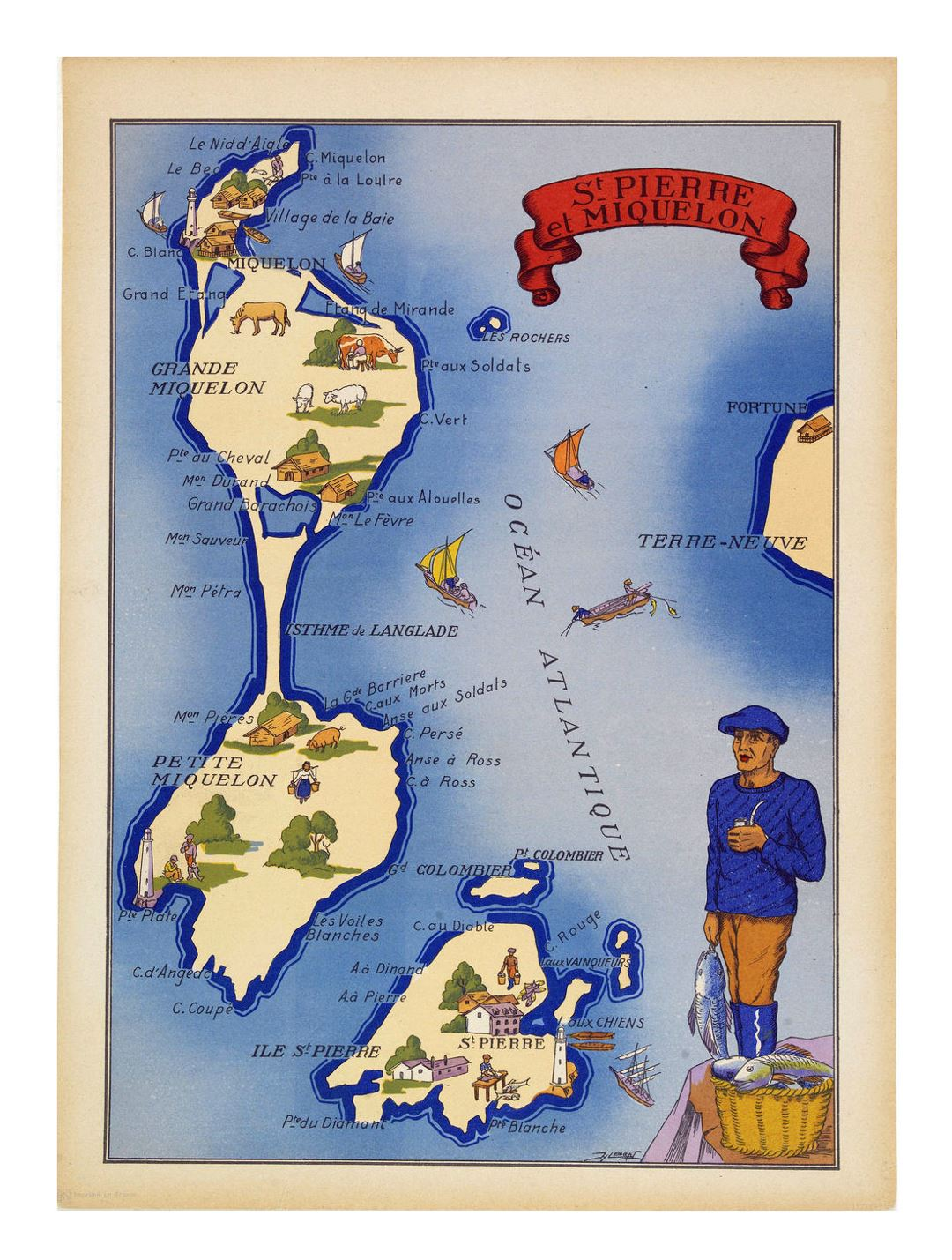 Detailed tourist illustrated map of Saint Pierre and Miquelon