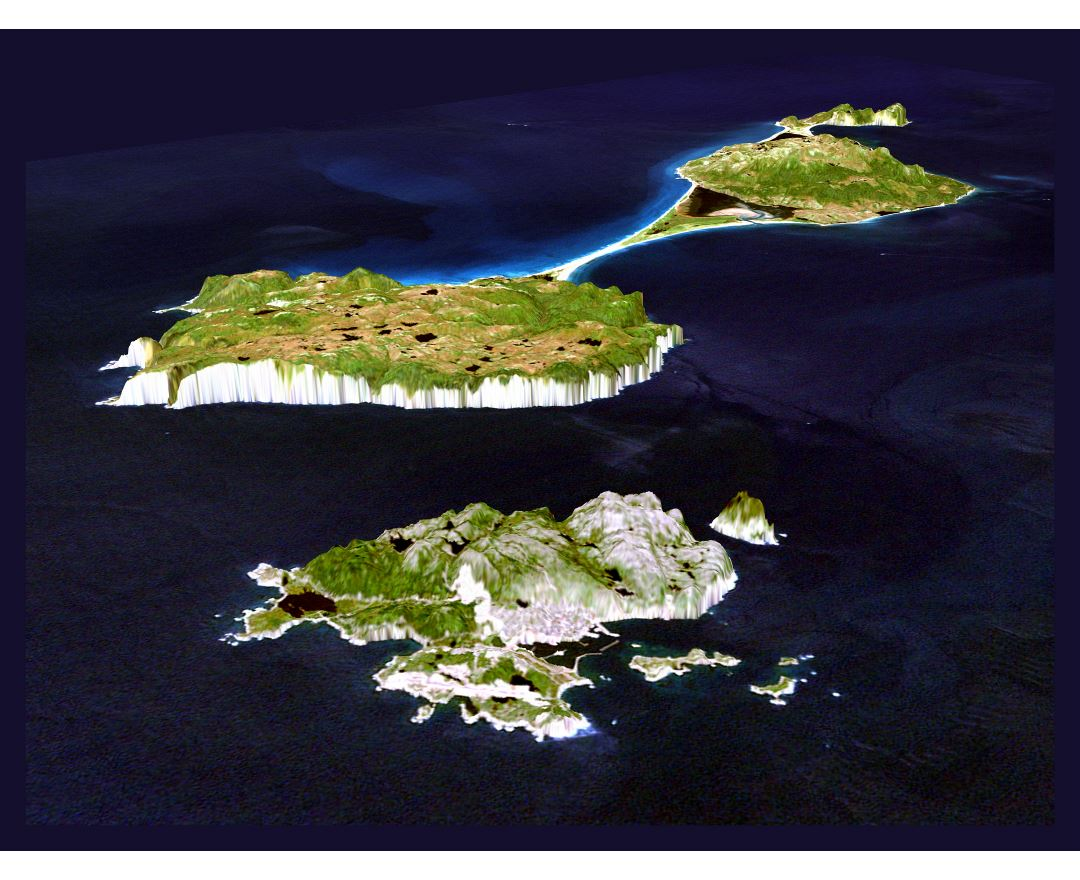 Large detailed 3d panoramic map of Saint Pierre and Miquelon