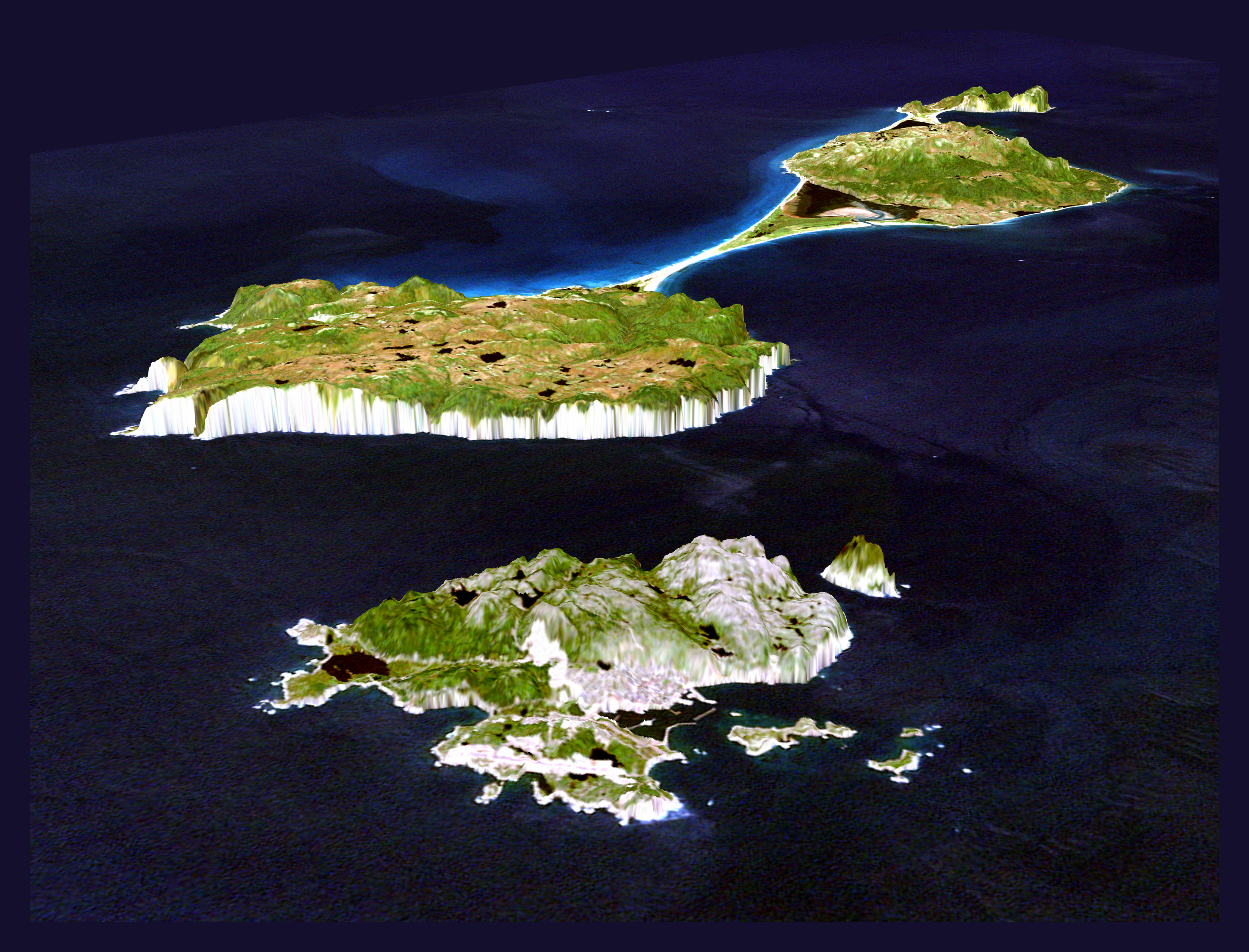 Large detailed 3d panoramic map of Saint Pierre and Miquelon Saint