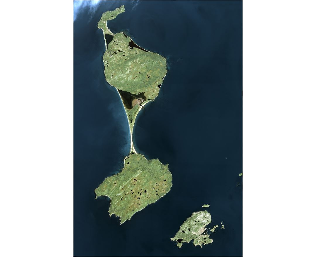 Large detailed satellite map of Saint Pierre and Miquelon