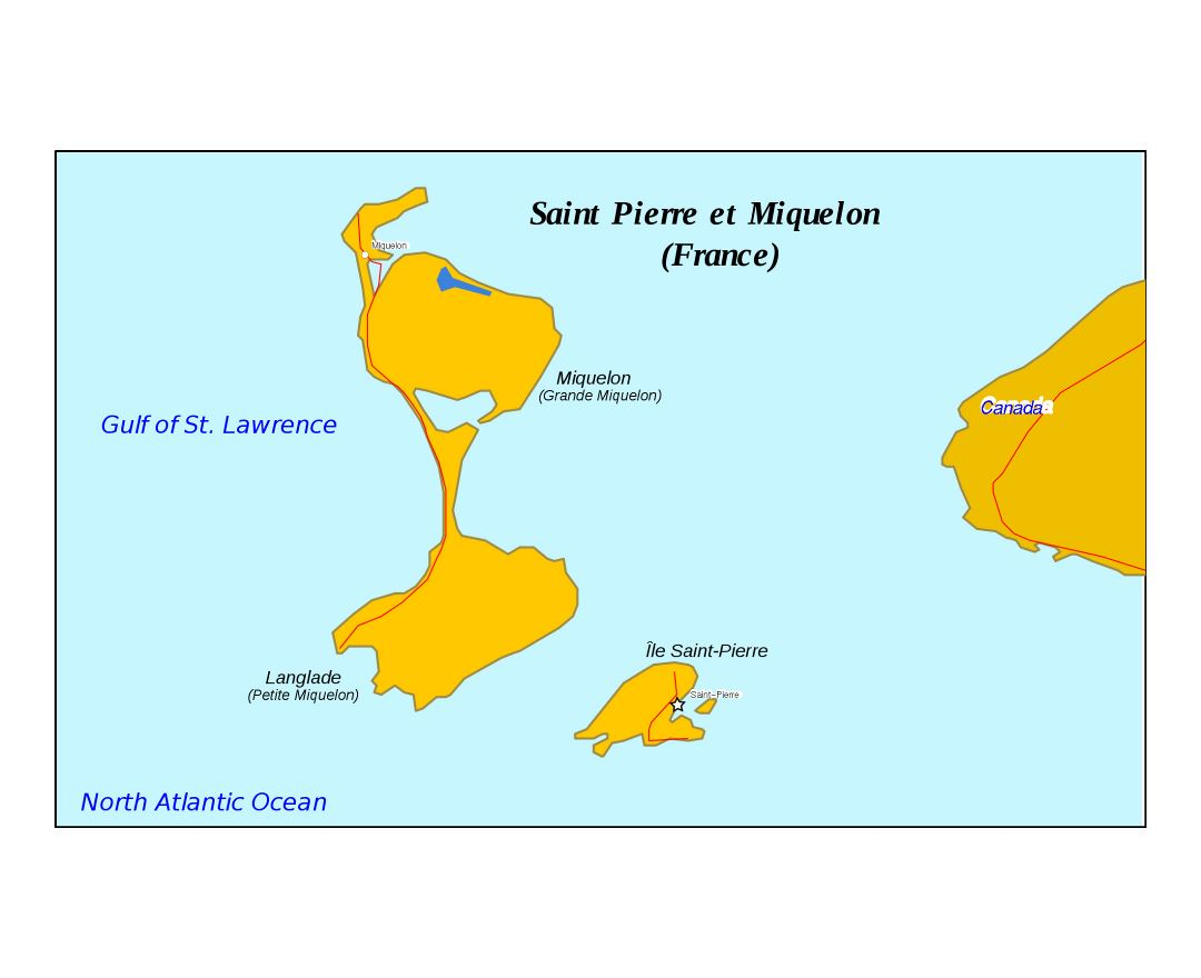 Large map of Saint Pierre and Miquelon with roads and cities