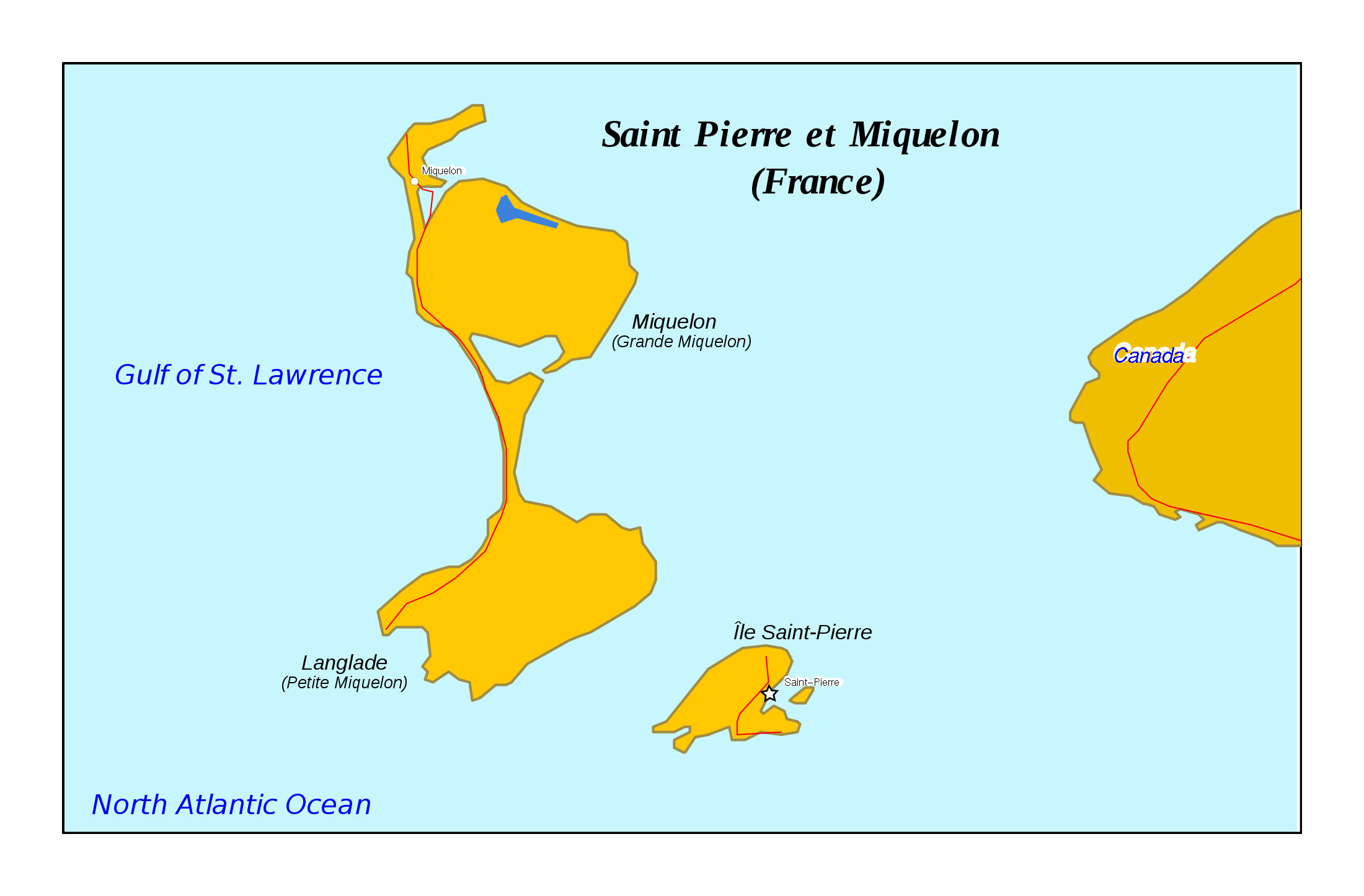Large map of Saint Pierre and Miquelon with roads and cities Saint