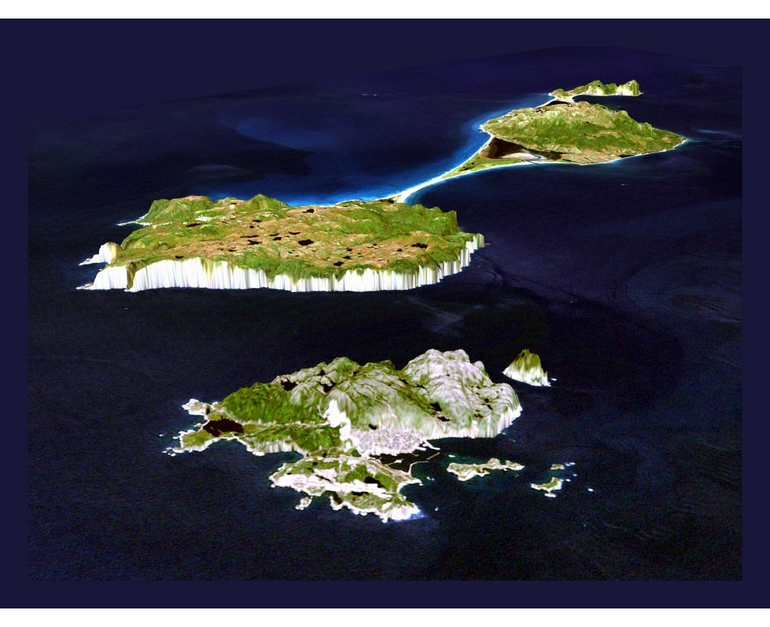 Large panoramic satellite map of Saint Pierre and Miquelon