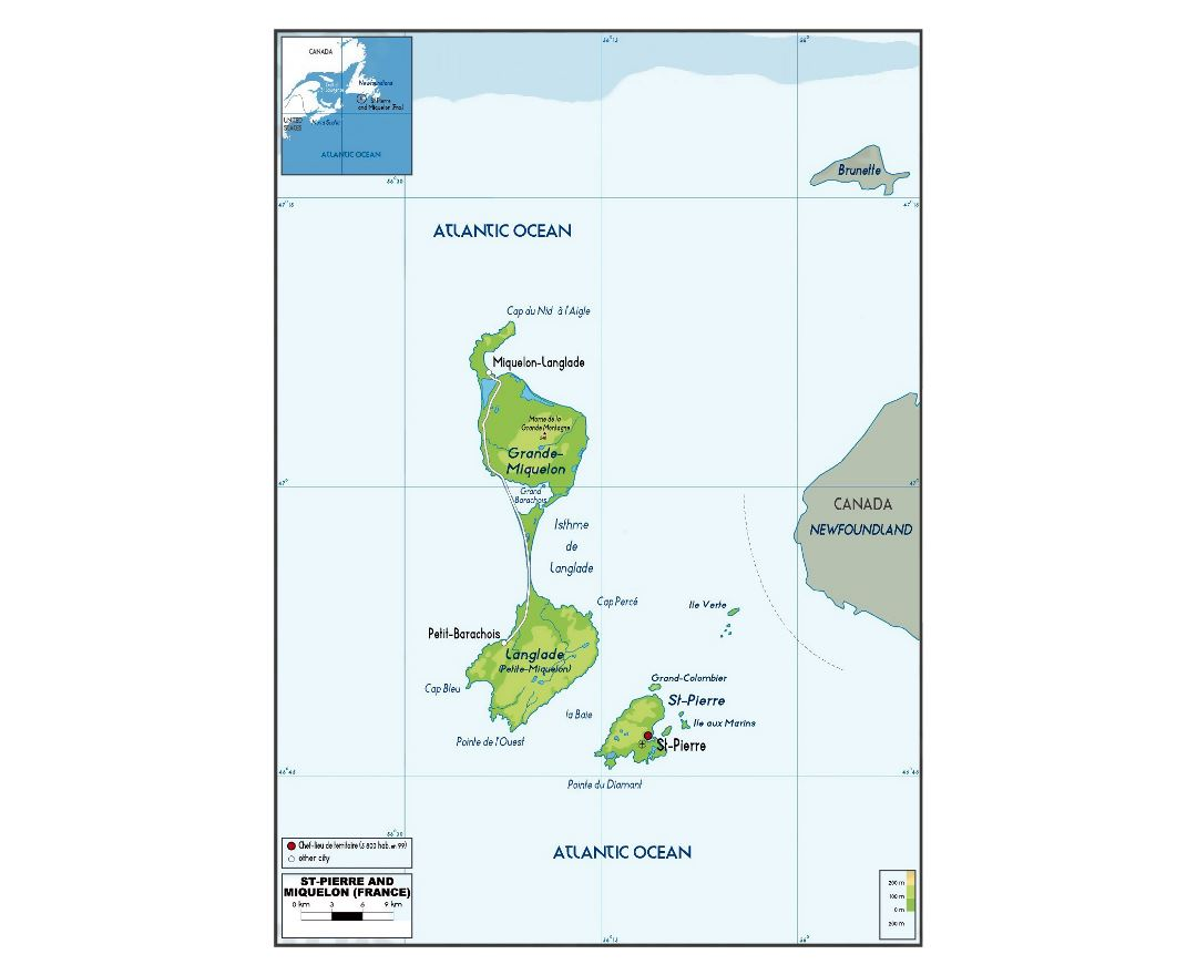 Large physical map of Saint Pierre and Miquelon with roads, cities and airport