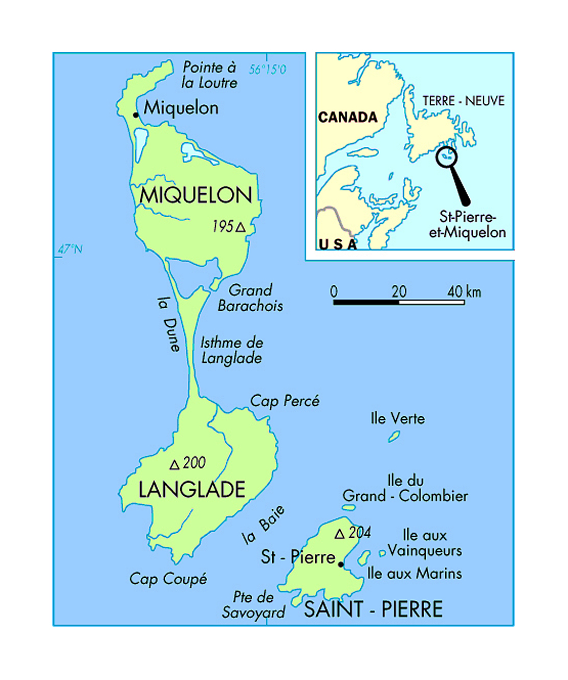 Political map of Saint Pierre and Miquelon with majot cities Saint