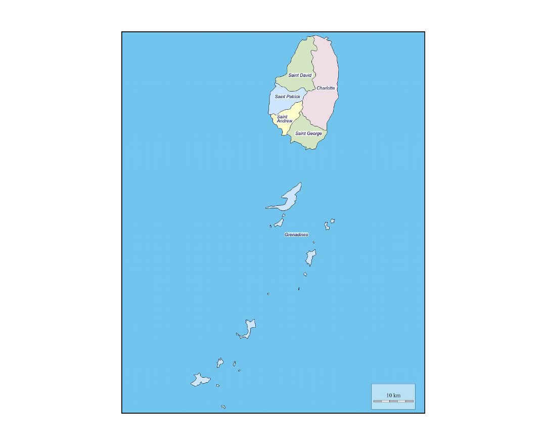 Administrative map of Saint Vincent and the Grenadines