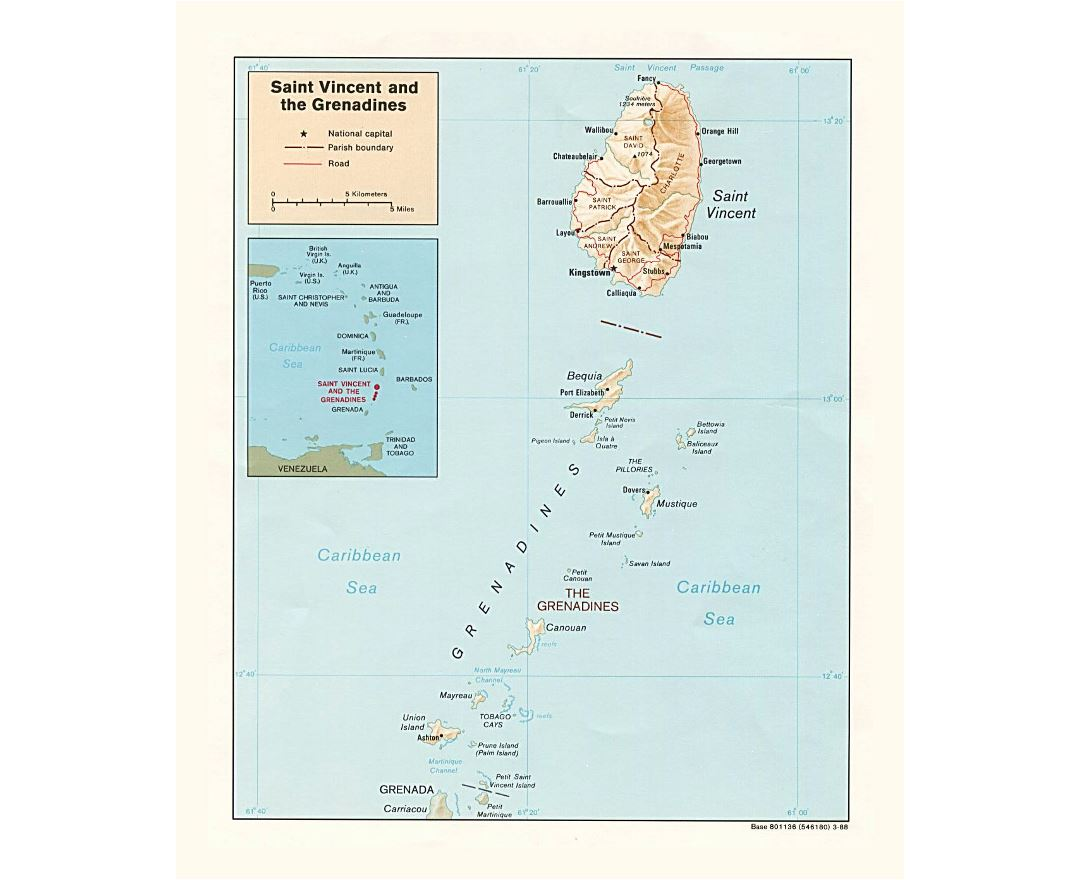 Detailed political and administrative map of Saint Vincent and the Grenadines with relief, roads and cities - 1988