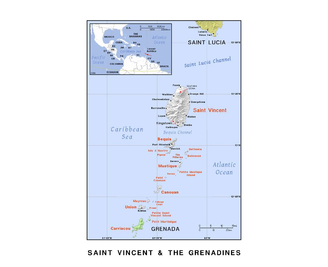 Detailed political map of Saint Vincent and the Grenadines with relief