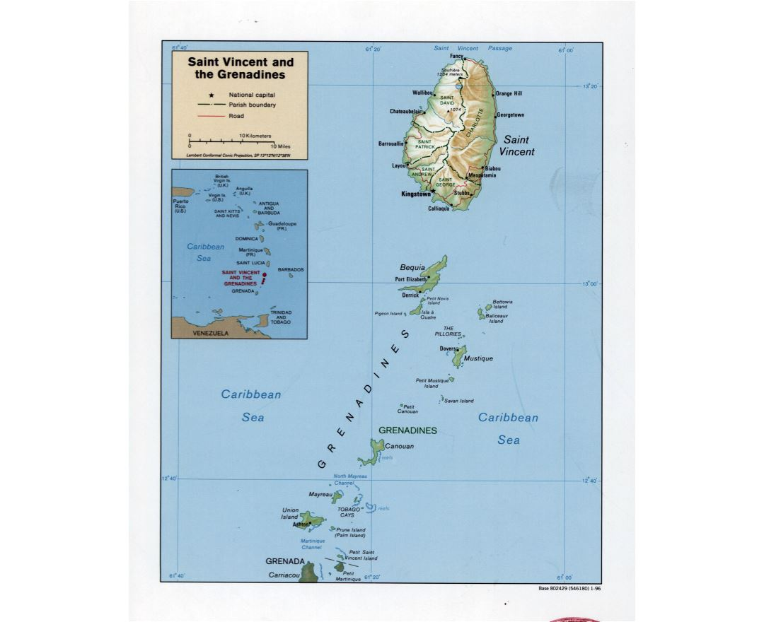 Large detailed political and administrative map of Saint Vincent and the Grenadines with relief, roads and cities - 1996