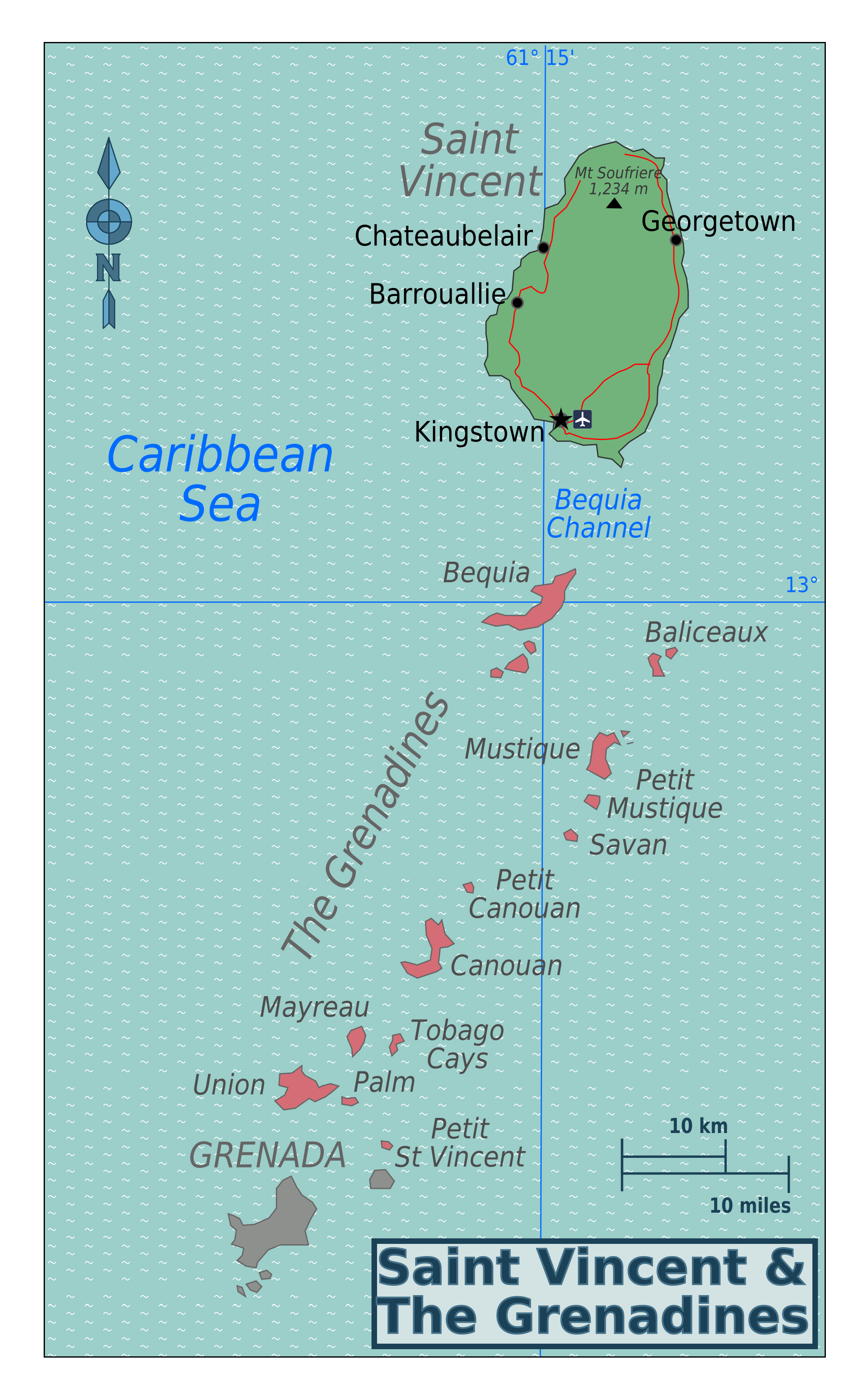 Large detailed regions map of Saint Vincent and the Grenadines