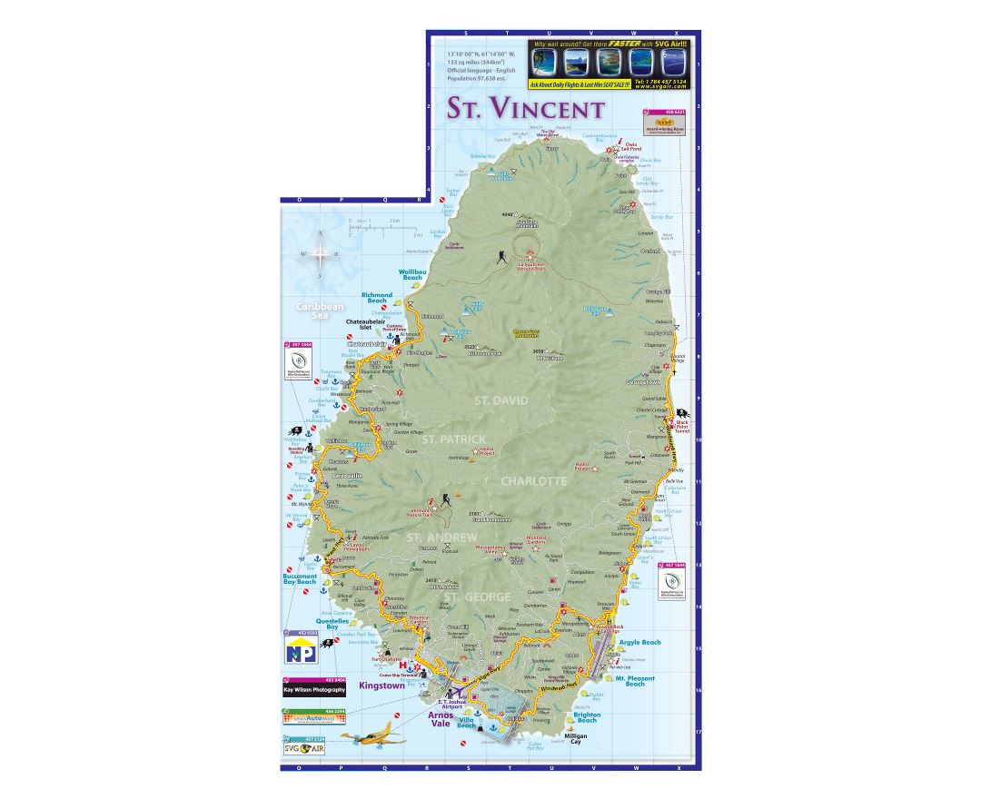 Large detailed tourist map of Saint Vincent Island with other marks